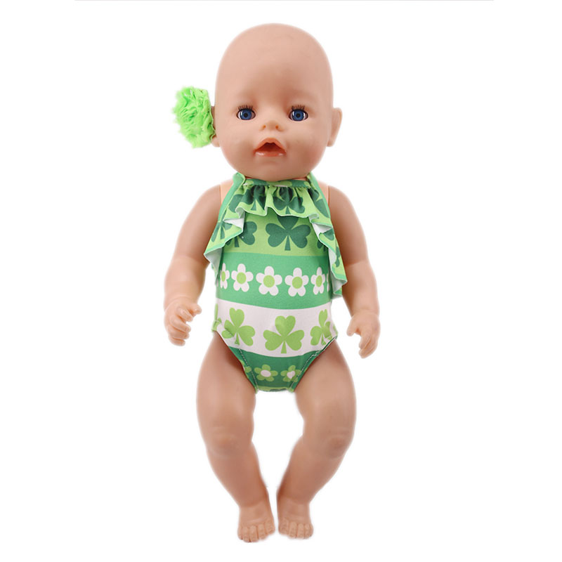 Doll Swimsuit 1 Set=Doll Swimwear+Free Head Flower Accessories For 18 Inch American Doll&43 Cm Born Doll Generation Baby Girl`s