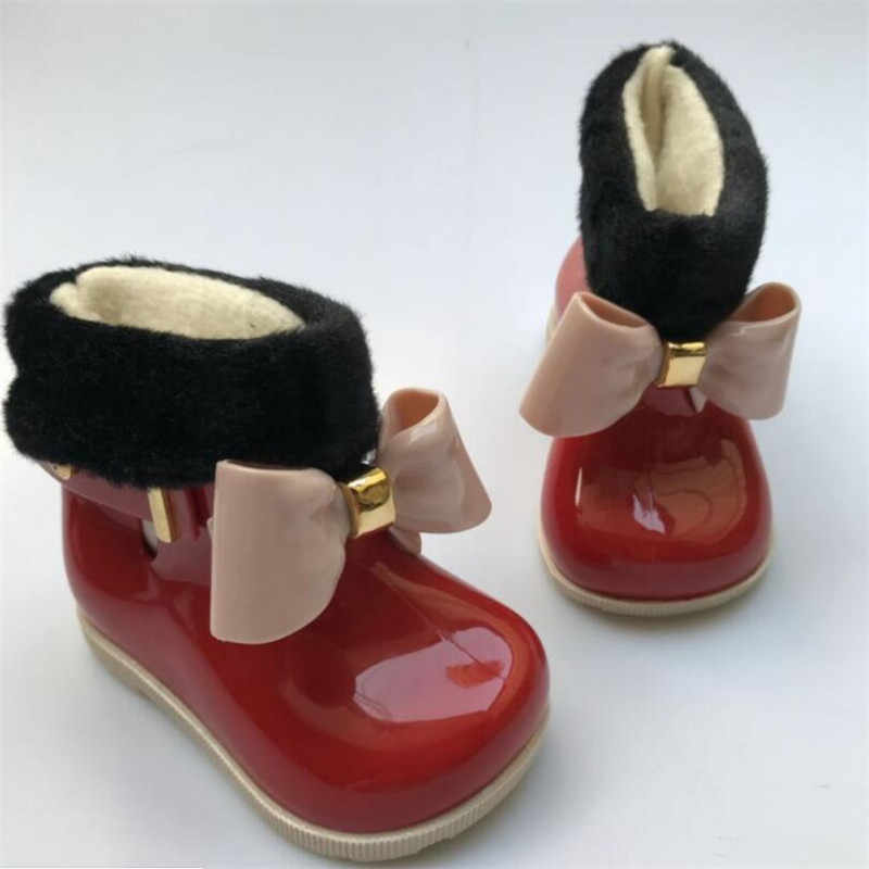 Botas de lluvia para bebés y niños, botas de nieve para niños, Botas de lluvia con lazo de terciopelo, zapatos de goma para niños