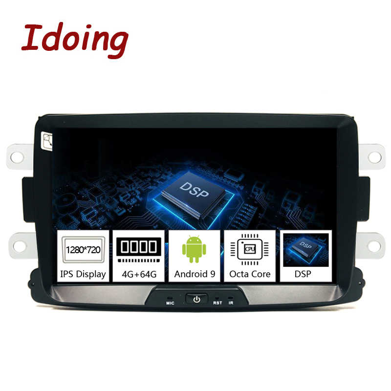 "Idoing 1Din 8 ""Car Radio GPS Multimedia Player Android 9.0 untuk Renault Duster Lada 2014-2016 IPS DSP 4G + 64G Octa Core Navigasi"