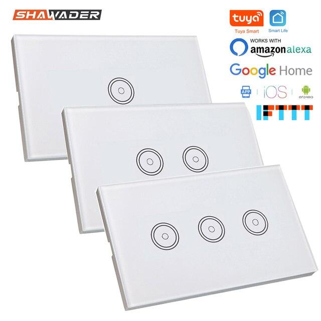 Wifi akıllı işık anahtarı cam ekran dokunmatik Panel ses kontrolü kablosuz duvar çalışma Alexa Echo Google ev 1/2/3/4 Gang