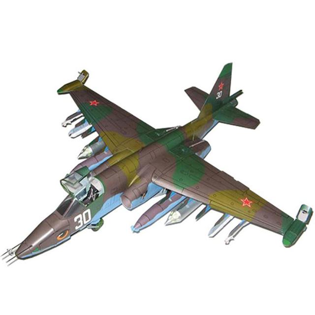 1PC 1:33 Su-25 Fighter Aircraft DIY 3D Paper Model Building Sets Construction Toys Educational Toys 2