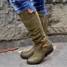Mid-Calf Boots Women Thick Heel Platform Boots Slip On Zipper Round Toe Shoes Woman Fashion Comfortable Long Booties AEZLZ474 цена 2017
