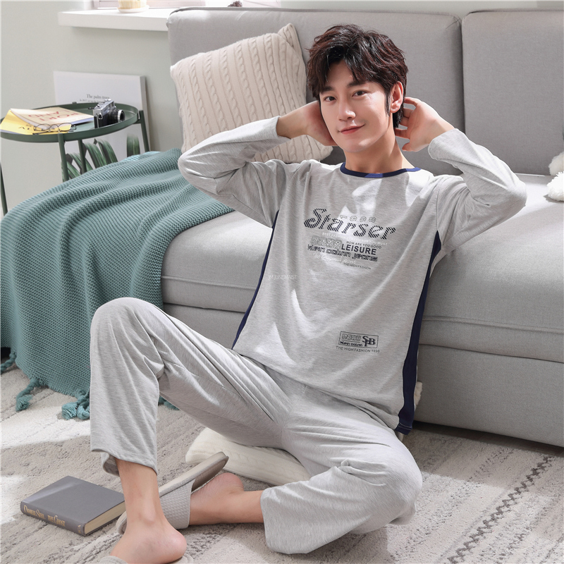 Autumn Winter Men's Cotton Pajamas Set Letter Striped Sleepwear Cartoon Pajama Casual Sleep&Lounge Pyjamas Plus Size 3XL Pijama