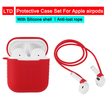 Bluetooth Wireless Earphone Silicone Case Set For Apple Airpods Protective Cover Accessories for Airpods With Anti-lost Rope 5pcs set silicone wireless bluetooth earphones case for airpods apple i7 earbud earphone accessories protective cover