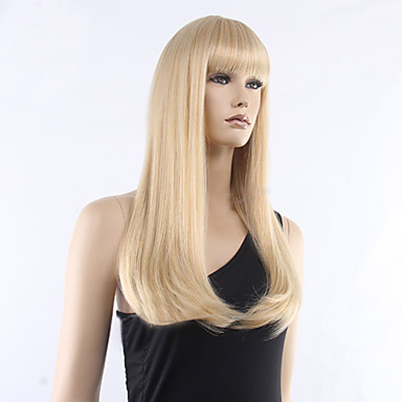 Image 4 - HAIRJOY  Women Synthetic Hair Neat Bangs Long Straight Heat Resistant Fiber Wigs 8 Colors  AvailableSynthetic None-Lace  Wigs   -