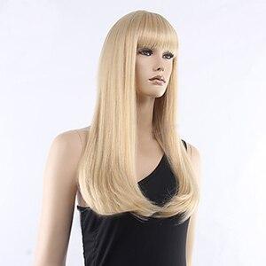 Image 4 - HAIRJOY femmes cheveux synthétiques propre frange longue droite résistant à la chaleur fibres perruques 8 couleurs disponibles