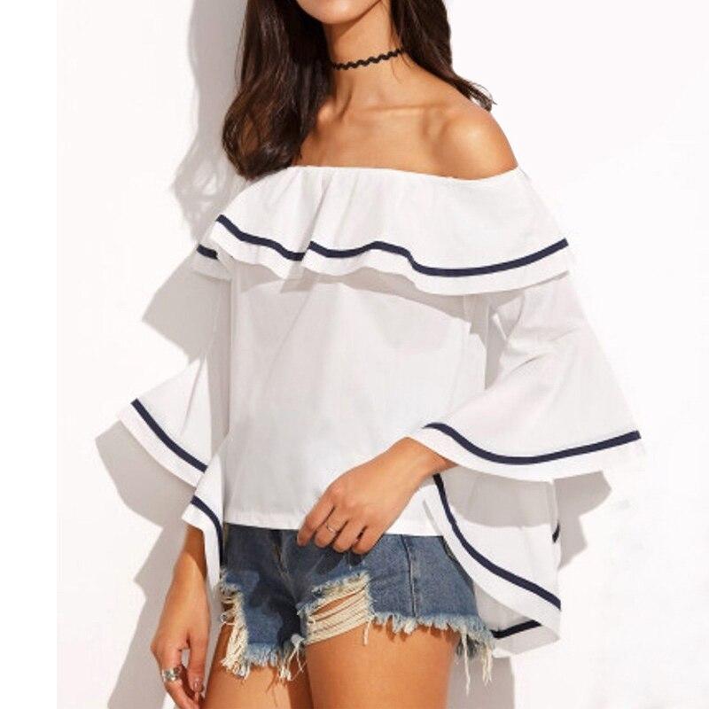 Office Shirts Women Off Shoulder Blouse 2020 Summer Tops Female Vintage Ruffles Party Tops Beach Tunic Ladies Blusas Femininas