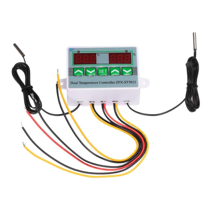 Digital LED Dual Thermometer Temperature Controller Thermostat Incubator Control Microcomputer Dual Probe