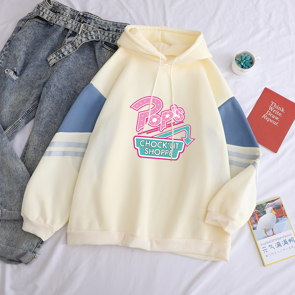 Hoodies Sweatshirt Women Riverdale Letter Print Hooded Casual Streetwear Harajuku Funny Loose Spell Color Spliced Fleece Pullver