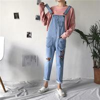 Flowers Embroidery Hole Denim Jumpsuit Women Casual Pockets Loose Rompers Ankle Length Overalls