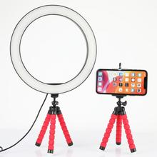 Photography LED Selfie Ring Light 26CM Dimmable Camera Phone Lamp 10inch Makeup Video Live with Table Tripods