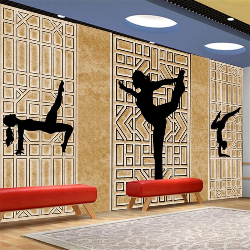 Wellyu Customized Wallpaper 3d Chinese Beauty Health Yoga Sports Background Wall Living Room Bedroom Background Wallpaper Wallpapers Aliexpress