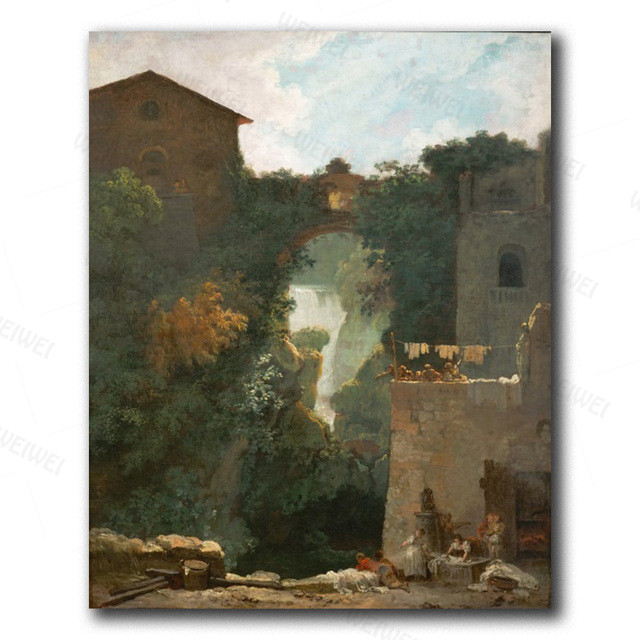 Canvas Wall Art Old Temple By Hubert Robert Painting Classic Art Reproductions  13