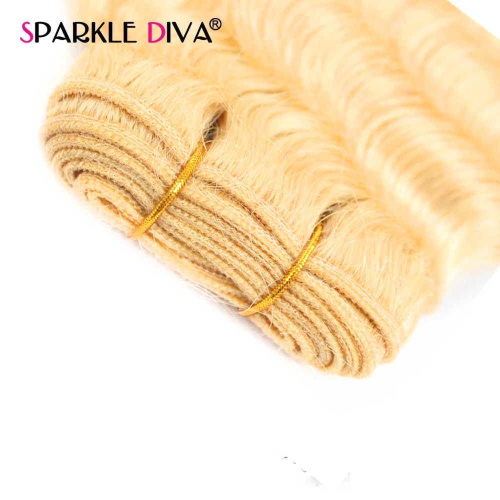 613 Bundels Met Sluiting Diepe Golf 3 Menselijk Haar Bundels Met Sluiting Remy Haarverlenging Peruaanse Blonde Bundels Met Sluiting