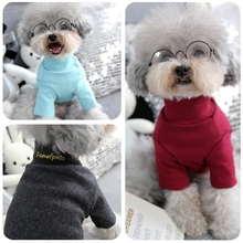 Dog Sweater Spring and Autumn Base Coat Kitten Clothes Pure Cotton Single Color High Collar Pet Supplies