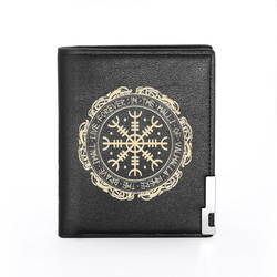 Classic Vintage Viking Symbol Printing Pu Leather wallet Men Women Bank Credit Card Holder Short Purse Male Standard Wallets