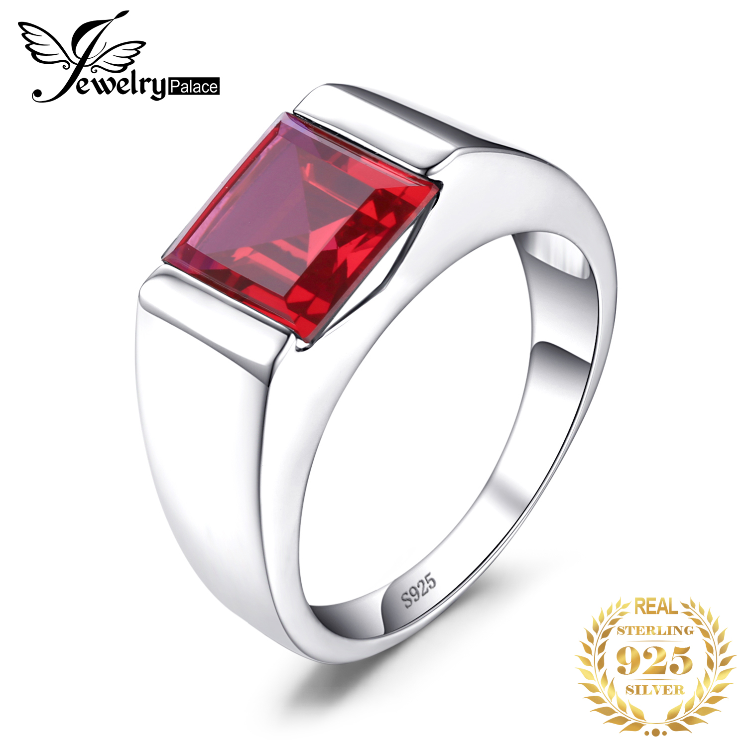 JewPalace 3.3ct Created Red Ruby Ring 925 Sterling Silver Rings For Men Wedding Rings Silver 925 Gemstones Jewelry Fine Jewelry