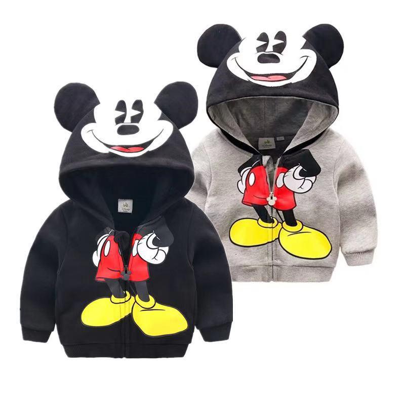 100% Cotton Kids Mickey Jacket Zipper Hooded Warmly Jacket Boys Girls Clothing Coats Baby Kid Jacket Coat 1-4 Years Girl Clothes