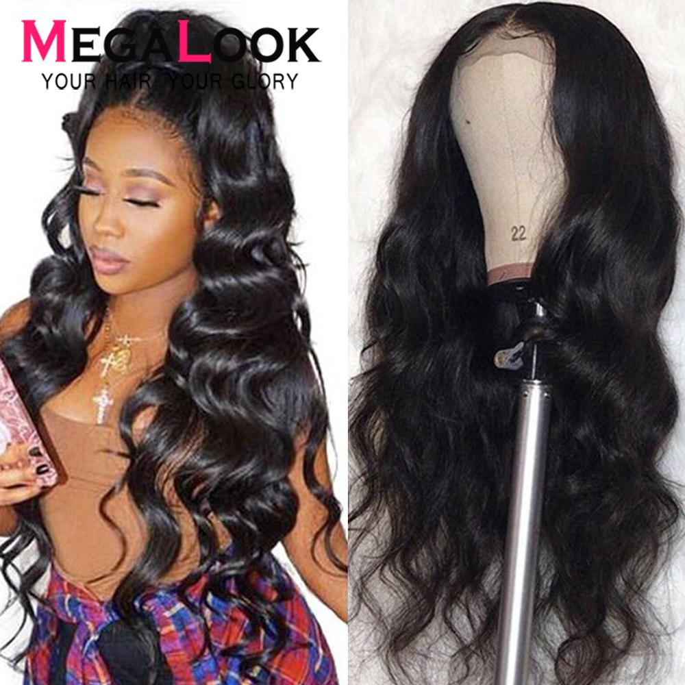Megalook Wigs Lace Closure Body-Wave Natural 30inch Brazilian 4x4 6x6 Remy title=