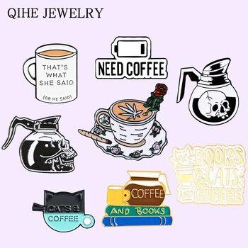 Булавка без кофе, без душа, книги, кот, Череп, латте, кофейник, чашка, брошь для влюбленных, значок, мультяшная бижутерия, булавка, оптовая прод...