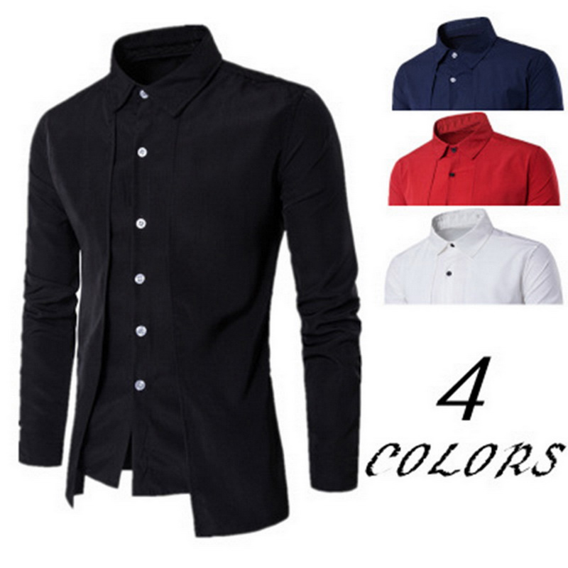 2019 Men's Shirts Long-Sleeved Top-blouse Casual Fake Two Piece Brand Bussiness Dress Shirts Autumn Solid Cotton Formal Clothig