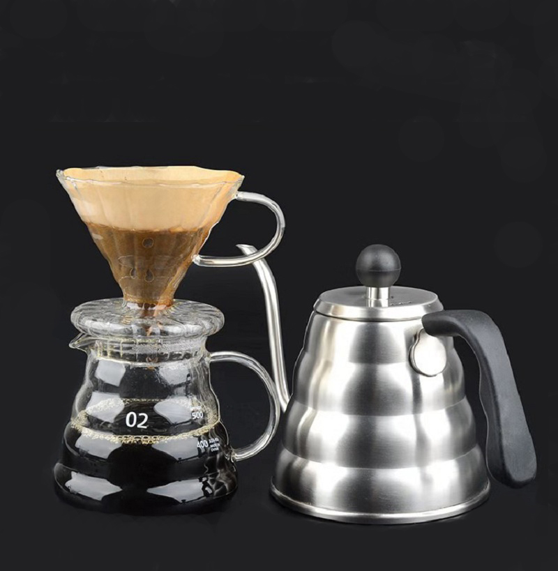 V60 Coffee Filter Glass Coffee Pot 600ml With Cover Portafilter Permanent Filter Coffee Maker Geyser Dripper Drip Kettle Espress