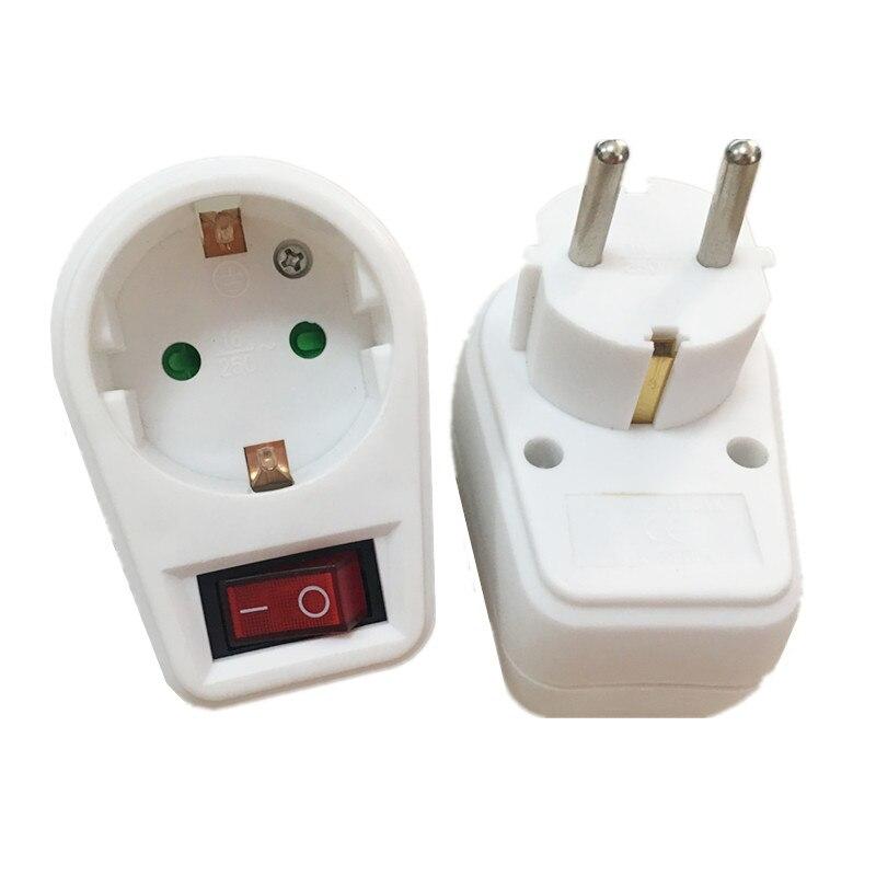 1 pçs tipo europeu plugue de conversão 1 a 1 maneira adaptador de alimentação plug adaptador com interruptor 16a ac 250v ue tomada de viagem plugue da ue