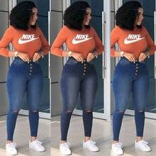 Женские рваные джинсы fnoce Универсальные однотонные брюки карандаш