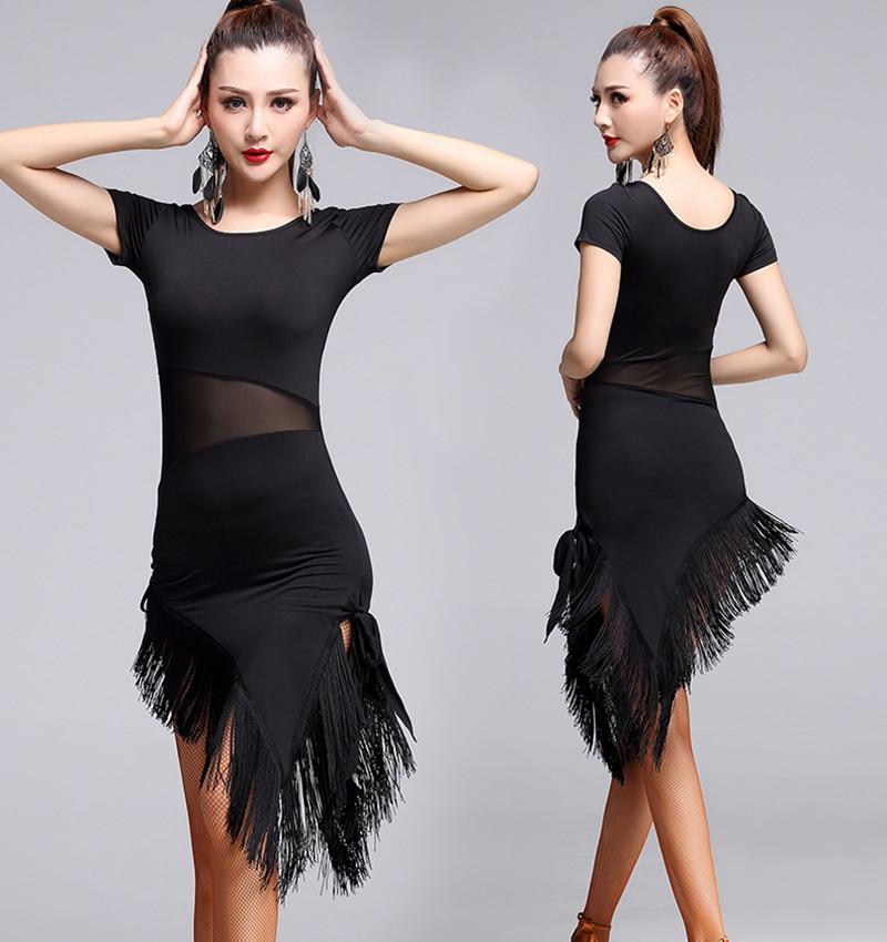 Adult Latin Dance Dress Short-sleeve Latin Dance Tassel One-Piece Dress For Women Latin Dress Ballroom Tango Cha Cha Costumes