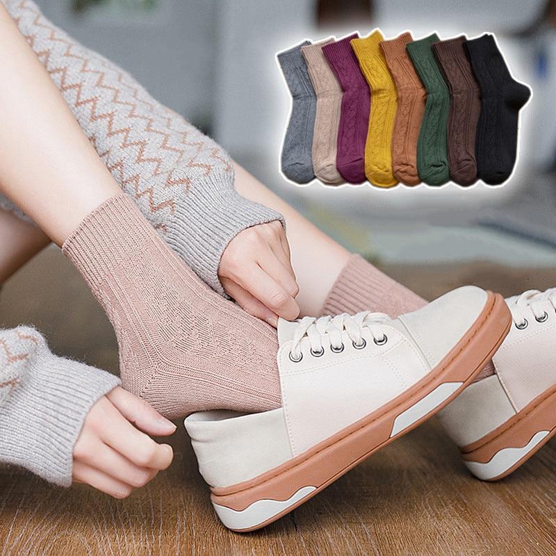 Jeseca Cotton Knitted Winter Warm Socks For Women Autumn Fashion Christmas Sock Gifts Japanese Kawaii Girls Harajuku Vintage Sox