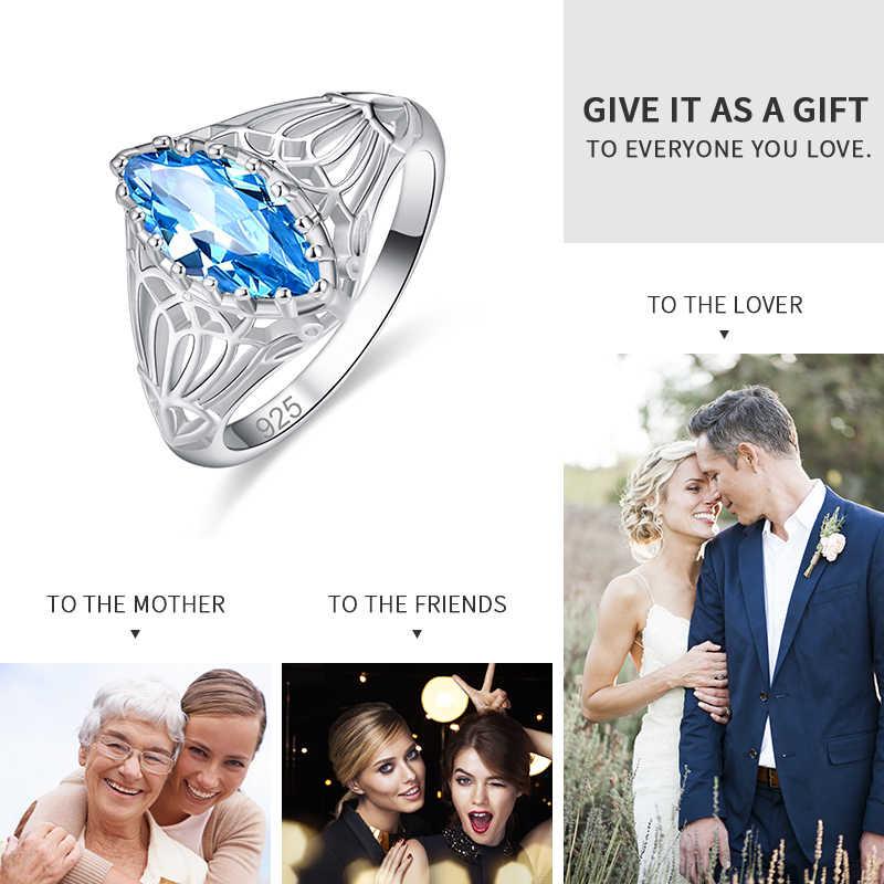 Jrose atacado marquise corte noivado casamento banda estilo verde azul zircônia cúbica anel de prata para feminino tamanho 6-13 jóias