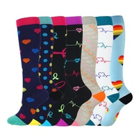7 pairs Compression Socks Men Women Nylon Yarn Outdoor Sports High Long Tube Stockings Running Socks Happy Marathon Unisex Fun