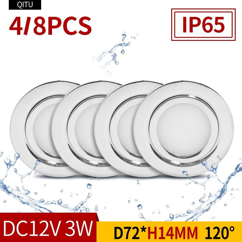 4/8PCS Stainless Steel Waterproof LED Spotlight IP65 Bathroom Ceiling Or Boat Built-in Outdoor House Slim Mini 12V Downlight