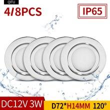 4/8PCS Stainless steel waterproof LED spotlight IP65 bathroo