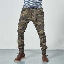 Мужские камуфляжные брюки в Военном Стиле хлопковые карго плотная