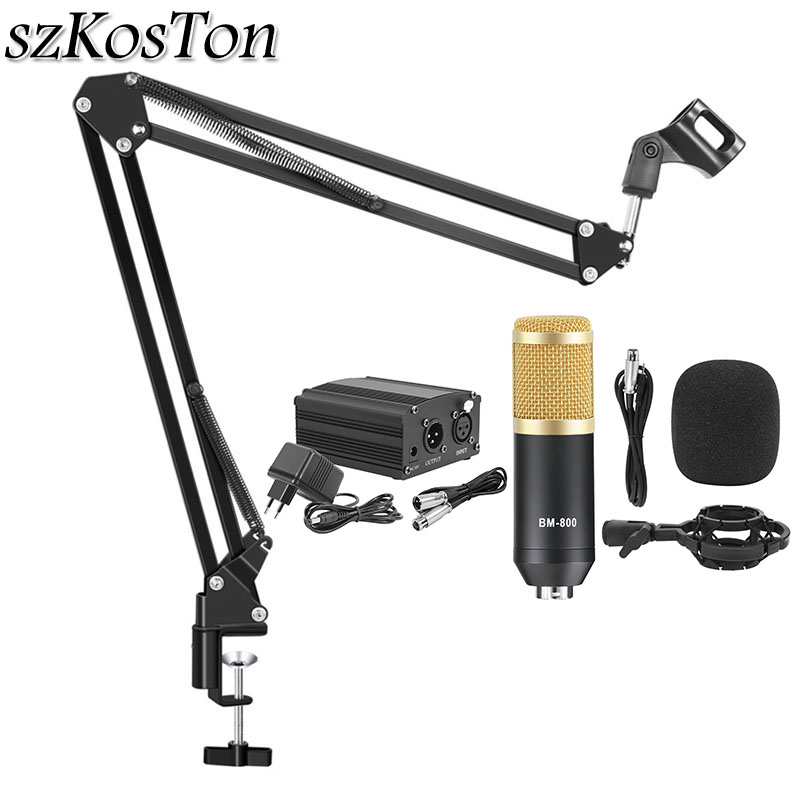 Professional Recording Condenser Microphone Set <font><b>BM800</b></font> Studio Microfone With 48V <font><b>Phantom</b></font> <font><b>Power</b></font> Live Broadcast Device For YouTube image