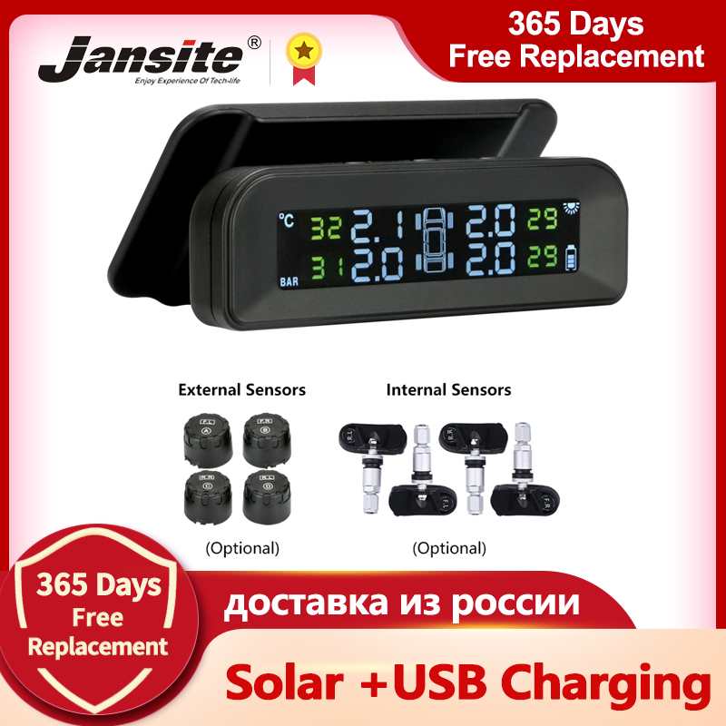 Jansite TPMS Pressure-Alarm-Monitor-System Real-Time-Display Solar-Power 4-Sensors Attached