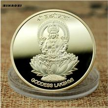 Индийская богиня Лакшми позолоченный тайцзи фэншуй Будда металлический значок монета памятная монета коллекция индийских он
