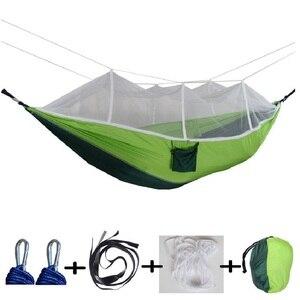 Image 1 - 屋外蚊帳パラシュートハンモック 1 2 人のキャンプぶら下げ睡眠ベッドスイングダブル椅子 Hamac アーミーグリーン