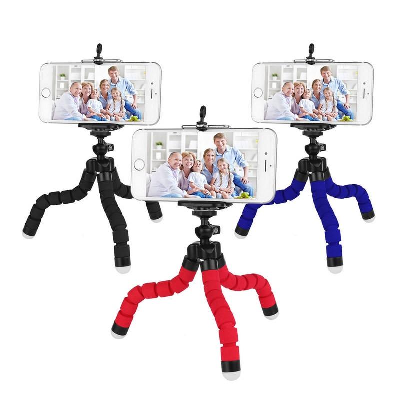 Newest  Portable Flexible Sponge Octopus Tripod Mini  Sponge Octopus Stand Tripod Smartphone Camera Holder Clip Tripod
