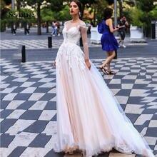 Платье женское кружевное с круглым вырезом и длинным рукавом