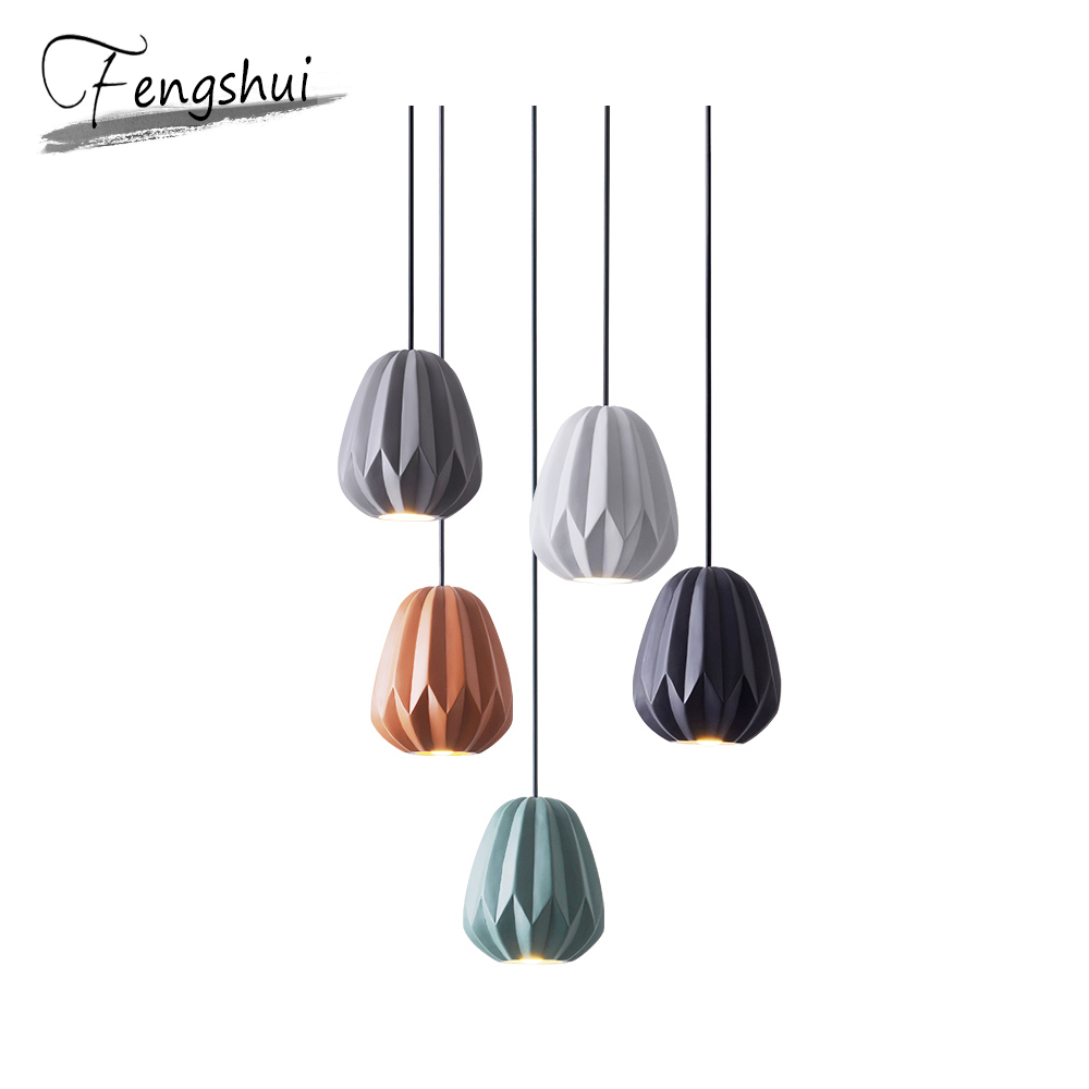 Nordic Resin Led Pendant Lights Papaya Small Pendant Lighting Lamp Dining Living Room Bedside Bedroom Light Fixture Hanging Lamp
