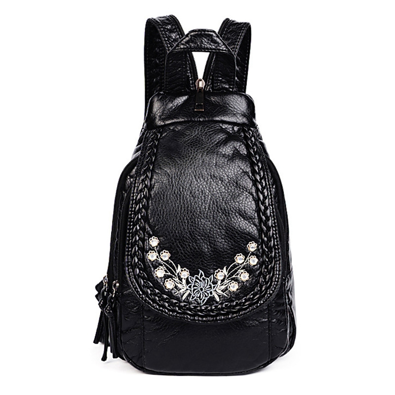 Embroidery Flowers Women Backpack Small Soft Pu Leather Backpacks For Girls Teenagers Female Shoulder Bag Chest Pack Black Bol