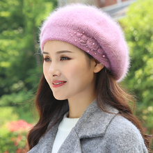 Beret Women Winter Hat Angora Knit Beanie Autumn Warm Flower Double Layers Skiin
