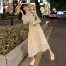 Houzhou elegante vestido de manga longa fora-branco com decote em v chiffon senhora do escritório casul maxi sukienka vestidos elegantes para mujer