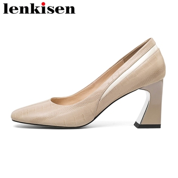 Lenkisen 2020 hot sale pumps genuine leather square toe high heels mixed color office lady daily wear large size shoes women L35