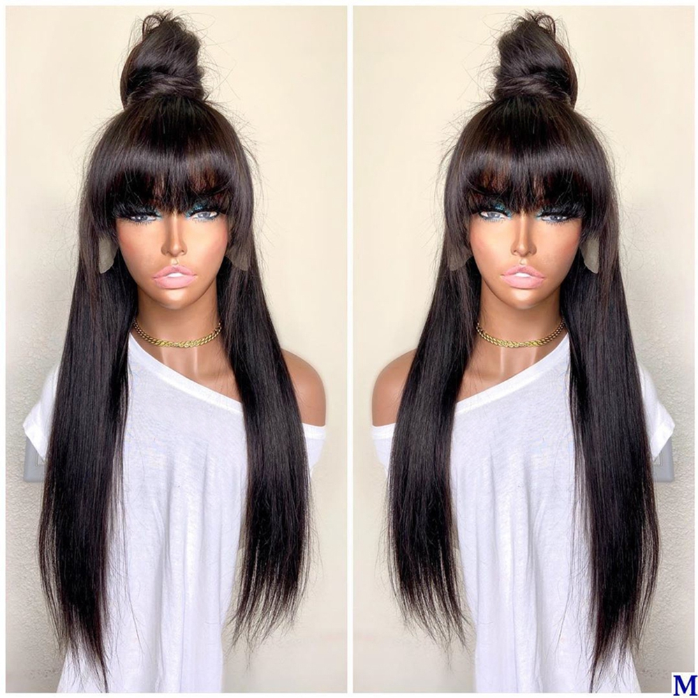 High-Ponytail-Silky-Straight-4x4-Silk-Base-Lace-Front-Human-Hair-Fringe-Wigs-for-Black-Women