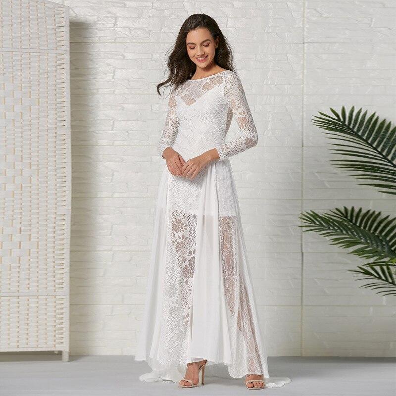 Women's Dresses Chiffon Lace Wedding Dresses Robe Marie 2020 Mermaid Bride Dress White Dress Elegant Vestido De Noiva WED90590