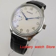 Parnis 44Mm Handleiding Mechanisch Horloge Witte Wijzerplaat 17 Juwelen 6497 Hand Winding Beweging Casual Mannen Horloges