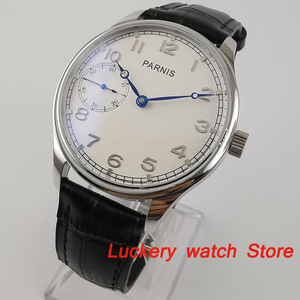 Image 1 - Parnis 44mm Manual mechanical watch white dial 17 jewels 6497 hand winding movement Casual Men watches